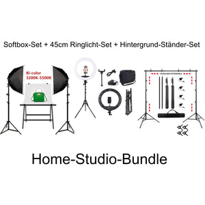 Studioleuchten-Set 3200-5500K 2x Dimmbare LED Video + Foto-Lampe mit Softbox + Stativ bis 210cm + Tasche
