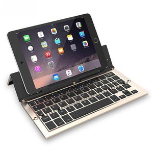 Gold Faltbare Bluetooth Tastatur Keyboard Ständer für Ipad Tablet Keypad IOS/Android/Windows