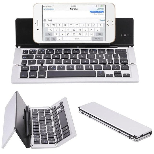 Weiss Faltbare Bluetooth Tastatur Keyboard Ständer für Ipad Tablet Keypad IOS/Android/Windows