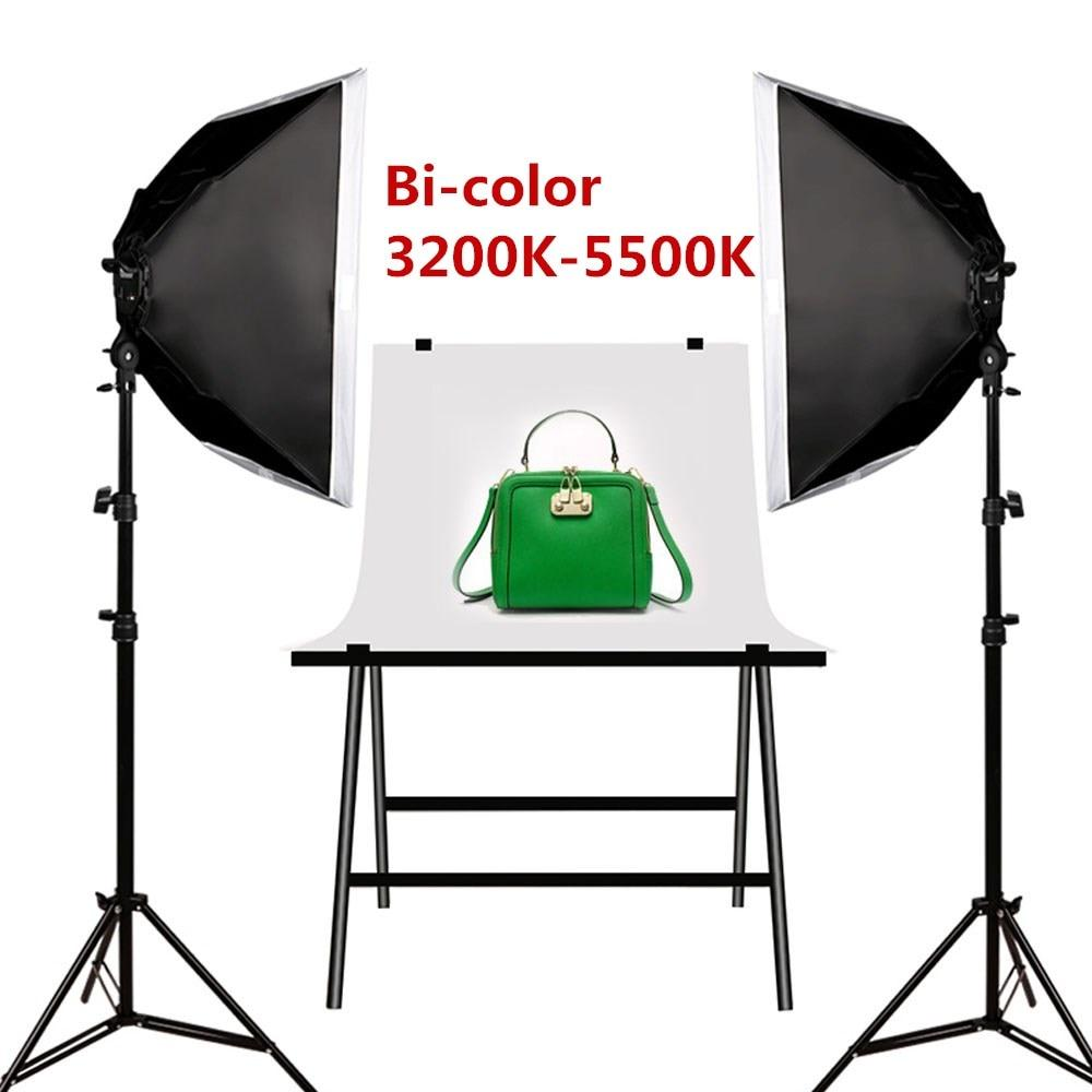 Dimmbare LED Video + Foto-Lampe 3200-5500K Studioleuchten-Set mit Softbox + Stativ + Tasche