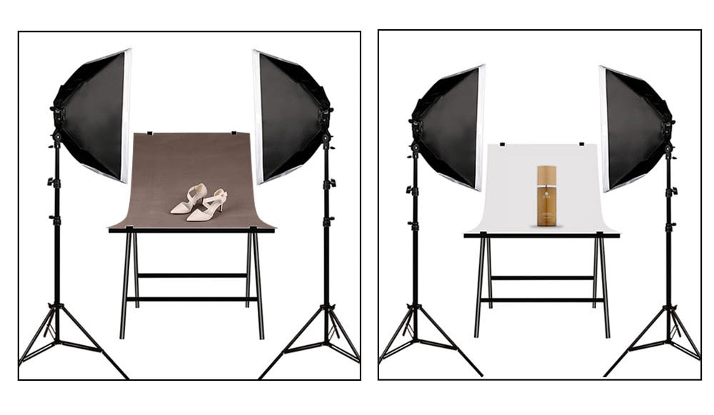 Dimmbare LED Video + Foto-Lampe 5500K Studioleuchten-Set mit Softbox + Stativ + Tasche
