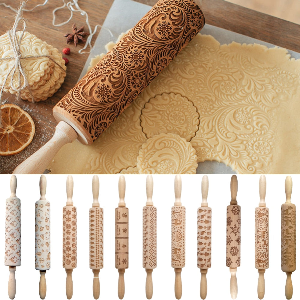 Wooden Rolling Pin Kitchen Embossing Rolling Pin Dough Stick Baking Pastry Tool Cooking Baking Accessories