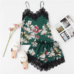 EMPIRE Lace Trim PJ Set with Florals - PHINE Co.