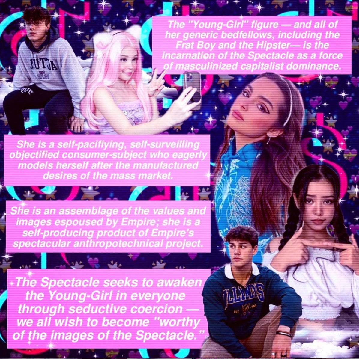 A collage by @horny_wretch on the Tiqqun-e-girl pipeline, featuring Belle Delphine, among other influencers. (Photo: @horny_wretch)