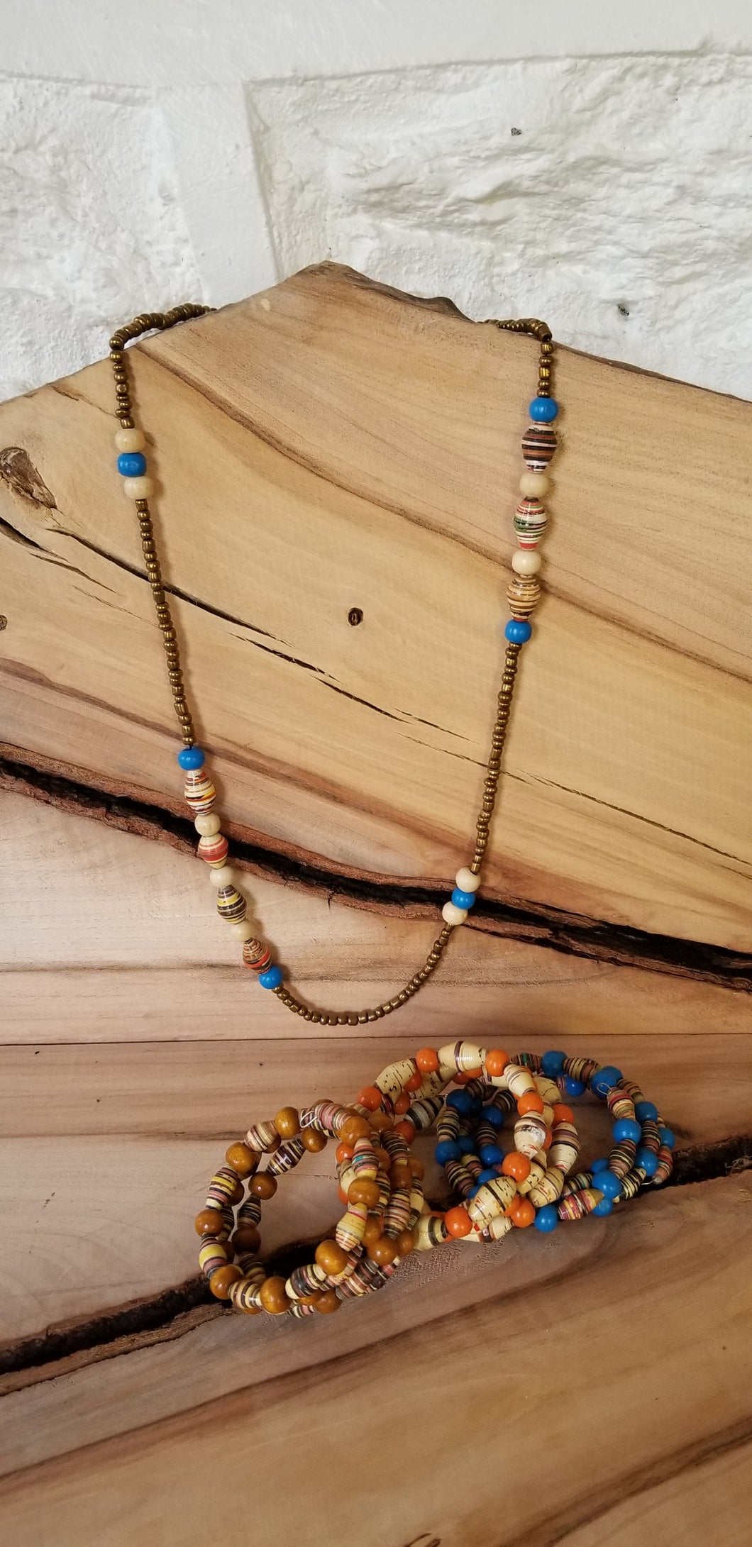 Abayudaya Ugandan Necklace and Bracelet - Blue/orange