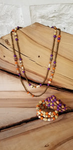 Abayudaya Ugandan Necklaces and Bracelets - Purple/orange