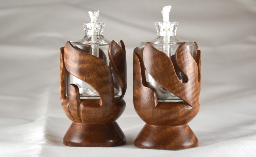 Asian Satin Wood Shabbat Kodesh Candle Holders