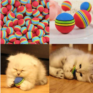Kitten Soft Foam Rainbow Balls - Cats Playing - JBCoolCats