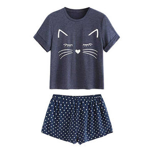 Adorable Kitty Cat Sleepwear - Navy - JBCoolCats