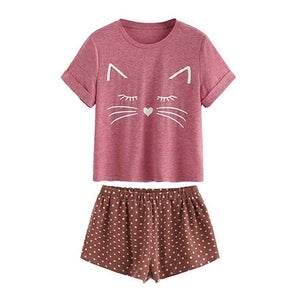 Adorable Kitty Cat Sleepwear - Burgundy - JBCoolCats