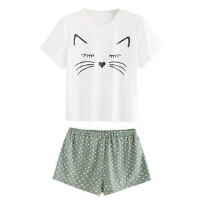 Adorable Kitty Cat Sleepwear - White/Green - JBCoolCats
