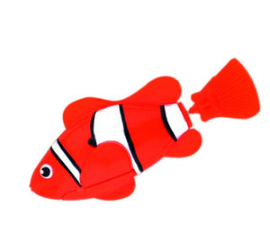 Robofish Battery-Powered Fish Cat Toy - Clownfish Red - JBCoolCats