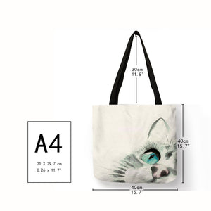 Cute Watercolor Painted Cat Tote - Size - JBCoolCats