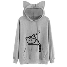 Load image into Gallery viewer, Long Sleeve Cat Hoodie - Grey - JBCoolCats