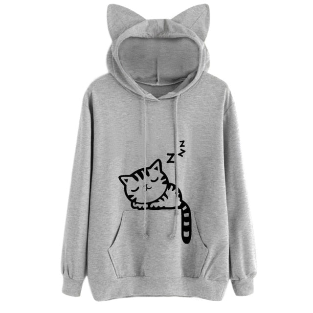 Long Sleeve Cat Hoodie - Grey - JBCoolCats