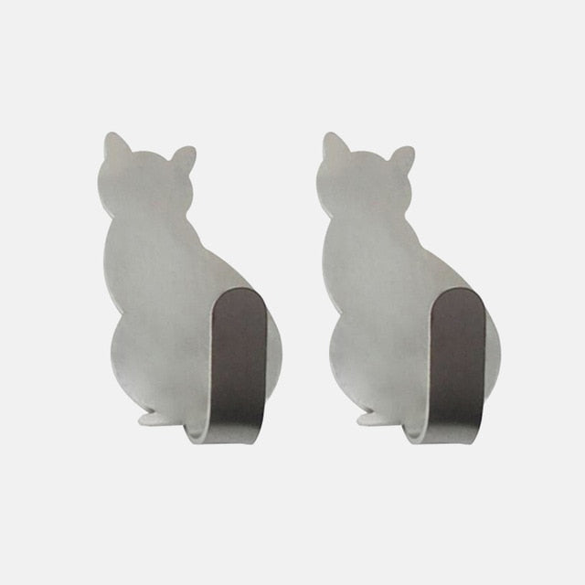 Adorable Self-Adhesive Cat Hooks - Silver - JBCoolCats