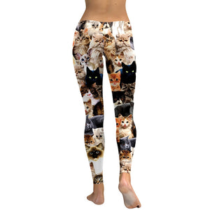 Cat Print Workout Leggings - Back View - JBCoolCats