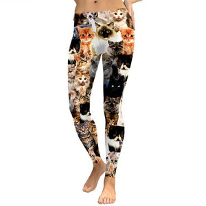 Cat Print Workout Leggings - Front View - JBCoolCats