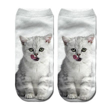 Load image into Gallery viewer, 3D Funny Cute Cartoon Kitten Socks - White & Gray - JBCoolCats
