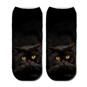 3D Funny Cute Cartoon Kitten Socks - All Black- JBCoolCats