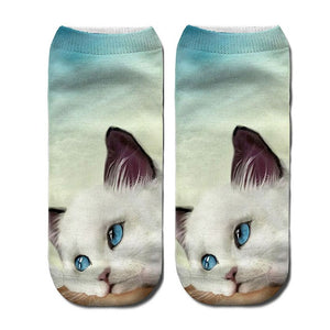 3D Funny Cute Cartoon Kitten Socks - Blue Eyes - JBCoolCats