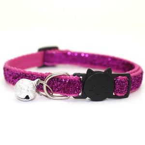 Sequin Cat Collar with Bell - Rose - JBCoolCats