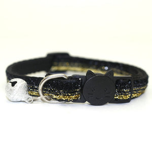 Sequin Cat Collar with Bell - Black-Gold - JBCoolCats