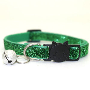 Sequin Cat Collar with Bell - Green - JBCoolCats