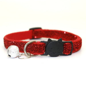 Sequin Cat Collar with Bell - Red - JBCoolCats