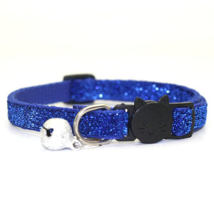 Sequin Cat Collar with Bell - Blue - JBCoolCats
