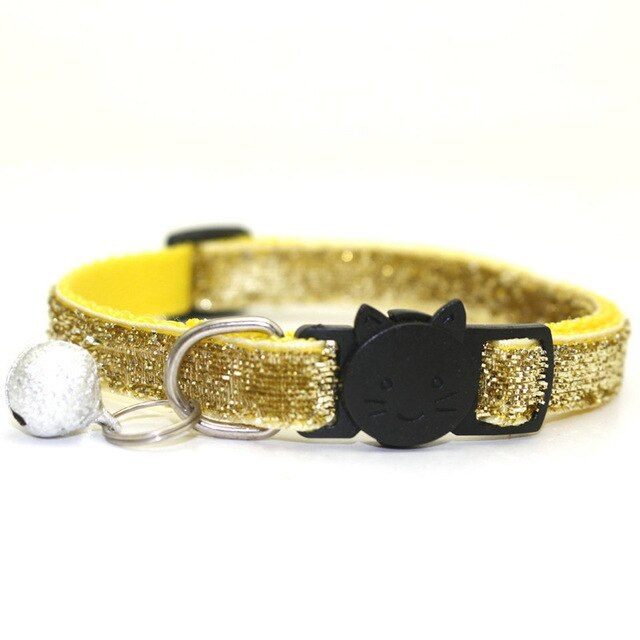 Sequin Cat Collar with Bell - Yellow - JBCoolCats