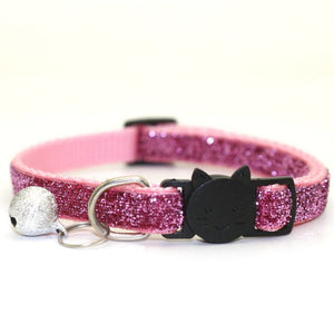 Sequin Cat Collar with Bell - Pink - JBCoolCats