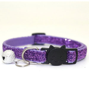 Sequin Cat Collar with Bell - Purple - JBCoolCats