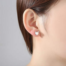 Load image into Gallery viewer, Cute Kitty Simulated Pearl Stud Earrings - alt view - JBCoolCats