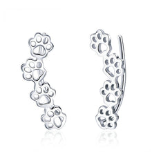 Load image into Gallery viewer, Trailing Cat Paw Footprint Earrings - Silver - JBCoolCats