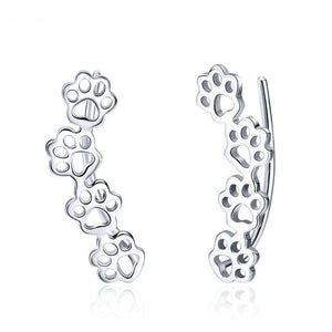 Trailing Cat Paw Footprint Earrings - Silver - JBCoolCats
