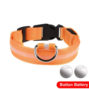 LED Glow In The Dark Cat Collar - Orange - JBCoolCats