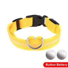 Load image into Gallery viewer, LED Glow In The Dark Cat Collar - Yellow - JBCoolCats