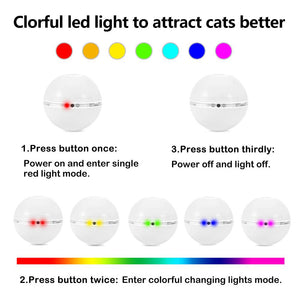 Colorful LED Rotating Ball with Catnip - Light Options- JBCoolCats