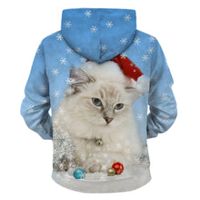 Load image into Gallery viewer, Snowy Santa Kitty Pullover Hoodie - Back - JBCoolCats