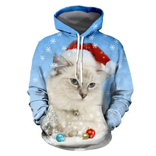 Load image into Gallery viewer, Snowy Santa Kitty Pullover Hoodie - Front - JBCoolCats