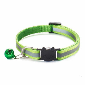 Colorful Nylon Reflective Cat Collar - Lime Green - JBCoolCats