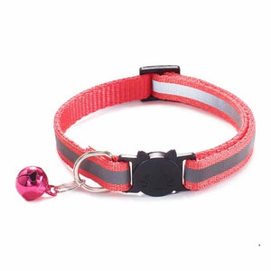 Colorful Nylon Reflective Cat Collar - Coral - JBCoolCats