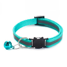 Load image into Gallery viewer, Colorful Nylon Reflective Cat Collar - Turquoise - JBCoolCats
