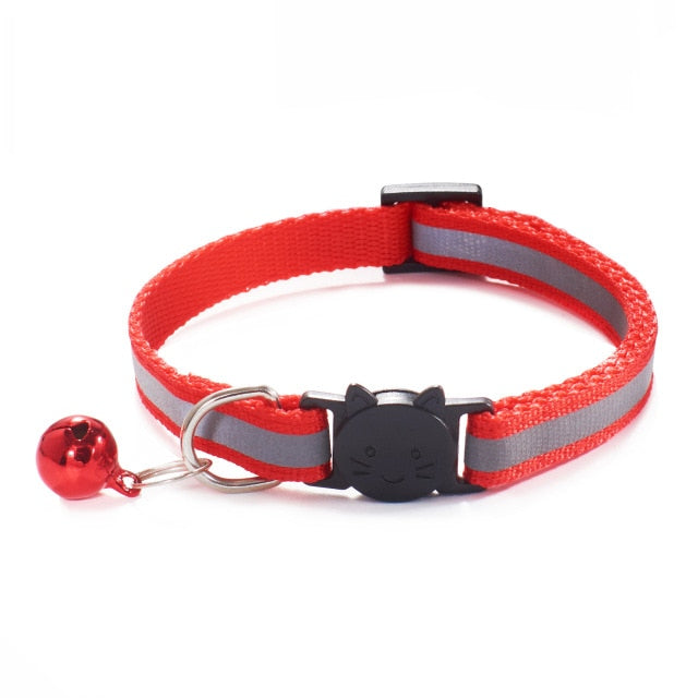 Colorful Nylon Reflective Cat Collar - Red - JBCoolCats