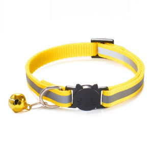 Colorful Nylon Reflective Cat Collar - Yellow - JBCoolCats