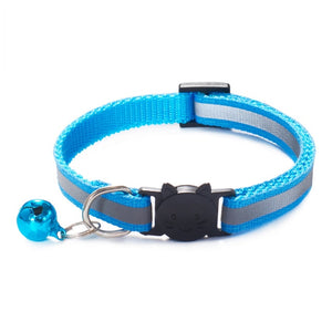 Colorful Nylon Reflective Cat Collar - Sky Blue- JBCoolCats