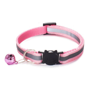 Colorful Nylon Reflective Cat Collar - Light Pink - JBCoolCats