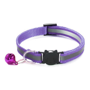 Colorful Nylon Reflective Cat Collar - Purple  - JBCoolCats