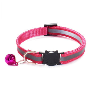 Colorful Nylon Reflective Cat Collar - Hot Pink - JBCoolCats